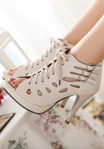 Beige Piscine Mouth Stiletto Buckle Lace-up Casual High-Heeled Sandals