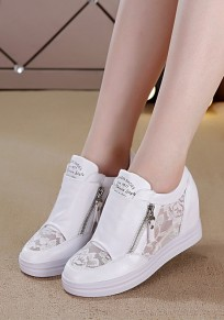 White Flat Within The Higher Grenadine Zipper Casual Shoes