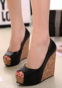 Black Piscine Mouth Wedges Casual Sandals