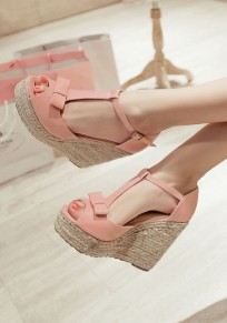 Pink Piscine Mouth Wedges Bow Buckle Sweet Sandals