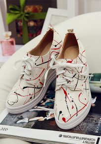 White Round Toe Within The Higher Print Casual Shoes