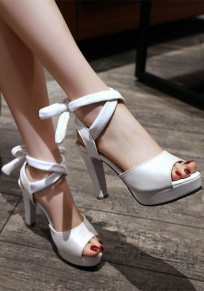 White Piscine Mouth Chunky Bow Lace-up Fashion High-Heeled Sandals