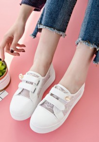 White Round Toe Grenadine Patchwork Rhinestone Velcro Casual Shoes