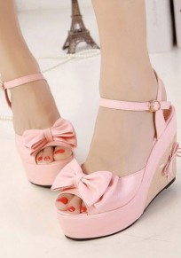 Pink Piscine Mouth Wedges Bow Sweet Sandals