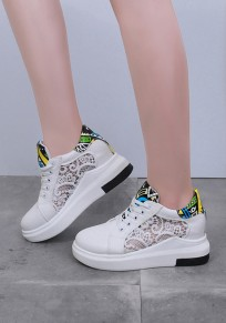 White Round Toe Flat Print Grenadine Patchwork Casual Shoes