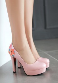 Pink Round Toe Stiletto Floral Print Fashion High-Heeled Shoes