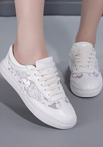 White Round Toe Flat Grenadine Patchwork Casual Shoes