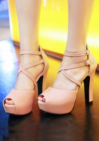 Pink Piscine Mouth Chunky Double Buckle Fashion High-Heeled Sandals