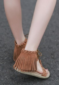 Brown Round Toe Flat Lace-up Tassel Casual Sandals
