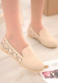 Beige Round Toe Flat Hollow-out Casual Shoes