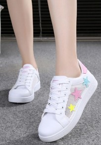 White Round Toe Flat Stars Print Casual Shoes