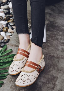 Beige Round Toe Flat Double Buckle Casual Shoes