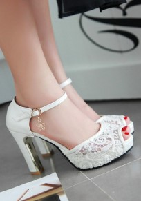 White Piscine Mouth Chunky Lace Casual High-Heeled Sandals