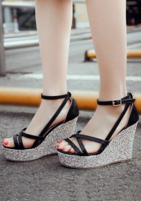 Black Round Toe Wedges Buckle Casual Sandals