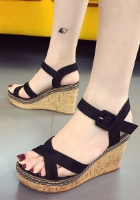 Black Round Toe Wedges Cross Buckle Casual Sandals