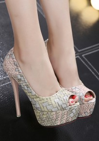 Light Grey Piscine Mouth Stiletto Casual High-Heeled Sandals
