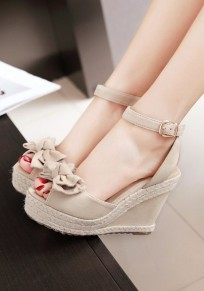 Apricot Piscine Mouth Wedges Bow Buckle Sweet Sandals