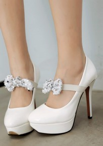 White Round Toe Stiletto Bow Sequin Buckle Fashion High-Heeled Shoes