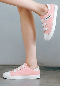 Pink Round Toe Flat Velcro Casual Canvas Shoes