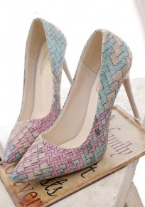 Multicolor Point Toe Stiletto Weave Pattern Printing Fashion High-Heeled Shoes