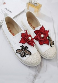 White Round Toe Flat Pearl Flowers Embroidery Casual Shoes