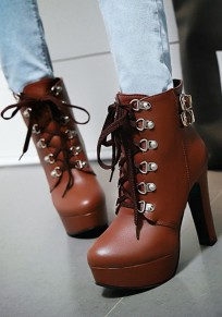 Dark Brown Round Toe Chunky Lace-up Casual Ankle Boots