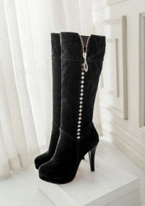 Black Round Toe Stiletto Rhinestone Casual Mid-Calf Boots