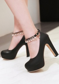 Black Round Toe Chunky Rhinestone Buckle Fashion High-Heeled Shoes