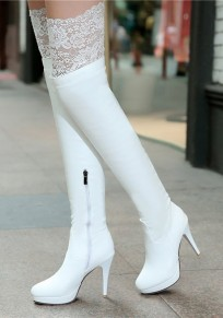 White Round Toe Stiletto Lace Patchwork Fashion Boots
