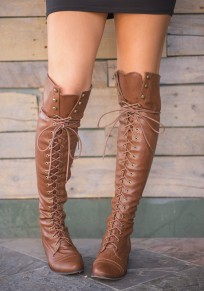 Brown Round Toe Chunky Rivet Lace-up Fashion Knee-High Boots