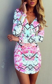 Multicolor Floral V-neck Long Sleeve Slim Dress