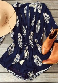 Navy Blue Leaves Print Drawstring Waist Bohemian Short Jumpsuit