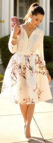 White Flowers Print Pleated High Waisted Skirt