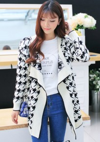 White Geometric Print Long Sleeve Cardigan