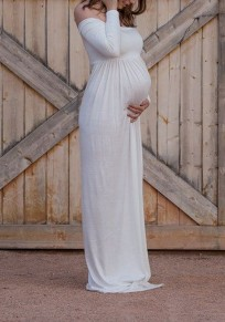 White Bandeau Pleated Boat Neck Off Shoulder Floor Length Maternity Maxi Dress