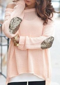 Pink Glitter Sequin Elbow Off Shoulder Dolman Long Sleeve Casual Pullover Sweater