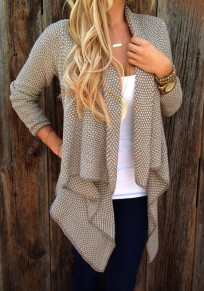 Apricot Plaid Draped Long Sleeve Loose Cardigan Sweater