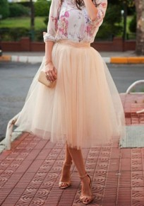 Beige Patchwork Grenadine Pleated Elastic Waist Cocktail Party Tulle Tutu Skirt