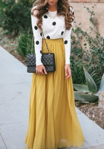 Yellow Plain Pleated Bohemian Maxi Skirt