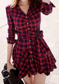 Red Plaid Single Breasted Ruffle Belt Wavy Edge Dress