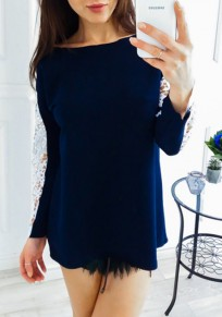 Dark Blue Patchwork Lace Round Neck Long Sleeve Casual Blouse