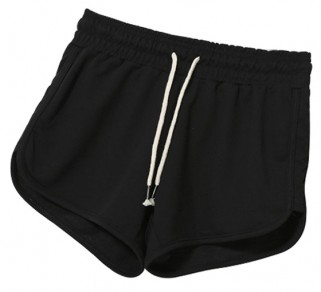 Black Plain Elastic Waist Mid-rise Casual Athletic Shorts With Sport And Yoga For Women