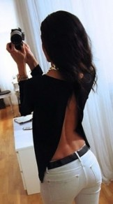 Black Plain Backless Round Neck Sexy T-Shirt