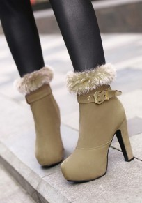 Apricot Round Toe Chunky Zipper Buckle Casual Boots