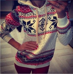 White Geometric Snow Print Thick Pullover Sweatshirt