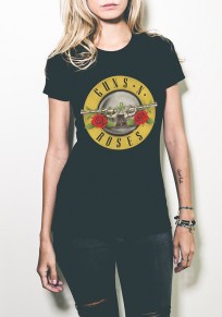 Black Guns N Roses Rock Print Short Sleeve T-Shirt