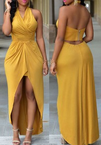 Yellow Plain Irregular V-neck Sleeveless Sexy Maxi Dress