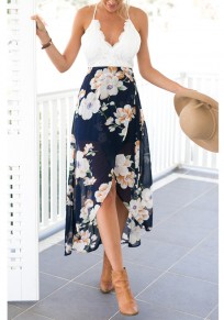 White Floral Lace Tie Back Irregular V-neck Fashion Midi Dress
