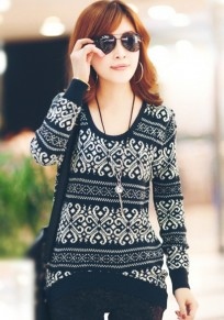 Black Striped Geometric Round Neck Wool Blend Sweater
