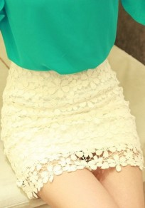 White Plain Wrap Sexy Classic Cotton Lace Skirt